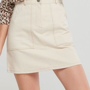 Storets Morgan Stitched Skirt Ivory Denim
